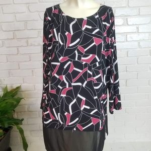 Alfani Black & Pink Print Pattern 2 Layer Blouse